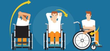 Homme animé qui fait de l'exercice en chaise roulante