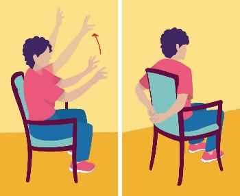 Dame assise qui fait des exercices avec ses bras